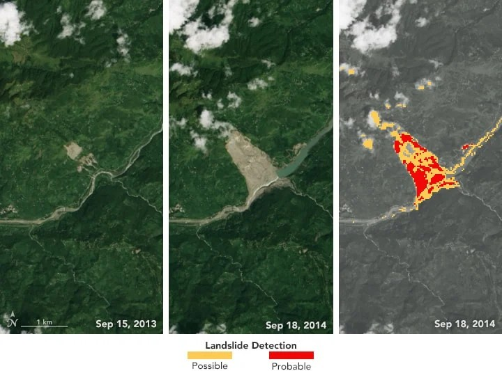Sudden Landslide Identification Product (SLIP) developed by NASA detects landslide potential by analyzing satellite imagery for changes in soil moisture, muddiness, and other surface features. The Landsat 8 satellite capture the left and middle images on September 15, 2013, and September 18, 2014—before and after the Jure landslide in Nepal on August 2, 2014. The processed image on the right shows areas in red indicating a probable landslide and areas in yellow showing a possible landslide. Source: NASA.