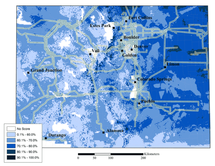 Ideal wind farm locations in Colorado according to GIS model criteria from Janke, 2010.