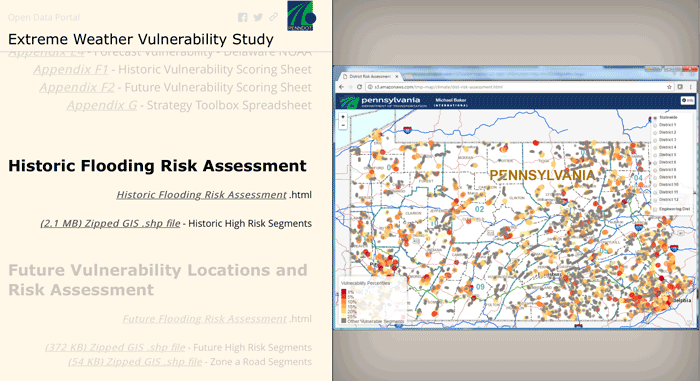 Screenshot from PennDOT's Extreme Weather Story Map showing Historic Flooding Risk Assessment.
