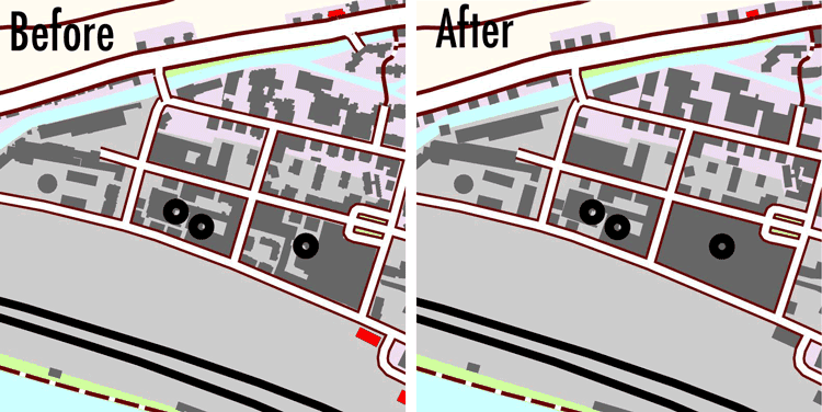 Map created with data before generalization (left) and after automatic generalization (right).