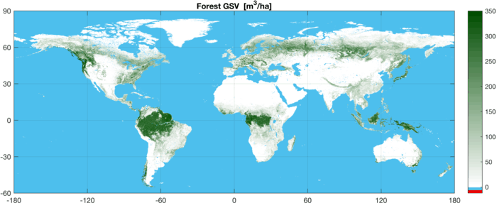 Map showing global growing stock volume (GSV) – the amount of wood expressed in cubic metres per hectare – derived from satellite radar data in 2010. Dark green represents areas of high growing stock volume, while white areas have none. Map: GlobBiomass project, ESA, 2017.