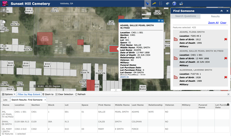 Sunset Hill Cemetery in Valdosta, GA uses Esri's ArcGIS Online platform to provide a geographic interface for viewing plots.