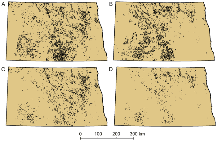 Figure 3: Results from a scenario of land-use change (note: 1 dot = 1 apiary location).A scenario influenced by high commodity prices and incentives to expand production of biofuel crops resulted in a loss of local landscapes suitable for apiaries. The distribution of all grassland centroids meeting criteria to support large apiaries in 2002 (A), prior to land-change incentives, is more extensive than in 2010 (B), subsequent to incentives. The same is true for the distribution of CRP centroids that met the apiary criteria in 2002 (C) versus 2010 (D) [7].