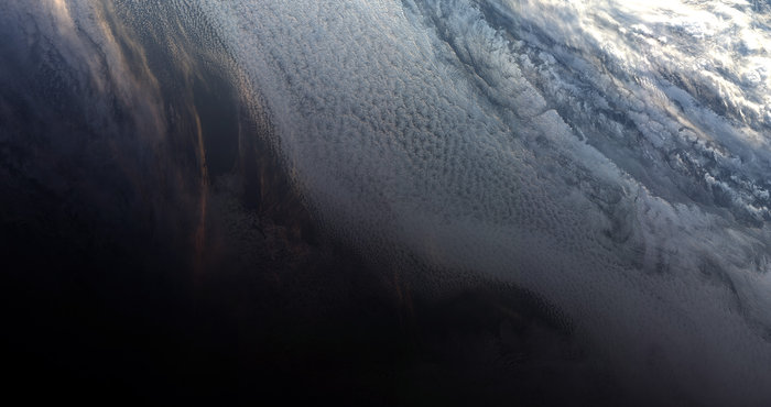 First image from Sentinel-3B of the Antarctic sunset, May 9, 2018. Image contains modified Copernicus Sentinel data (2018), processed by EUMETSAT, CC BY-SA 3.0 IGO