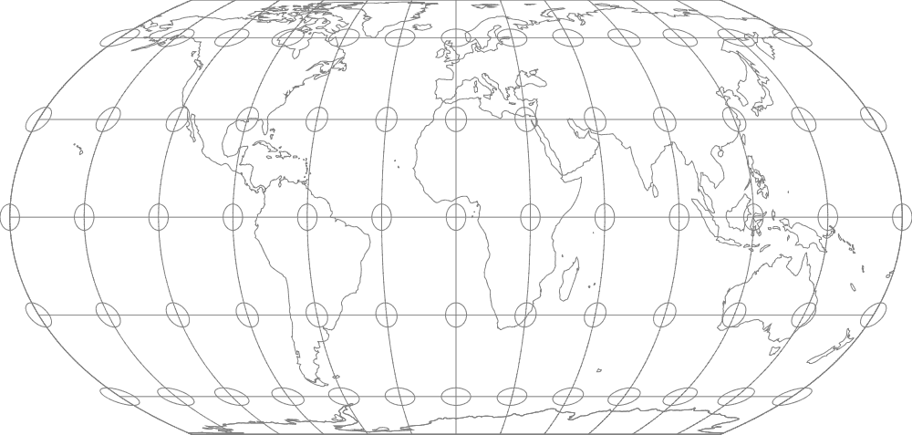 Equal Earth map projection with Tissot's indicatrices. Map: Flex Projector