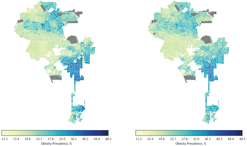 Images on the right represent actual obesity prevalence; on the left, cross-validated estimates of obesity prevalence based on features of the built environment extracted from satellite images. Source: Maharana & Nsoesie, 2018