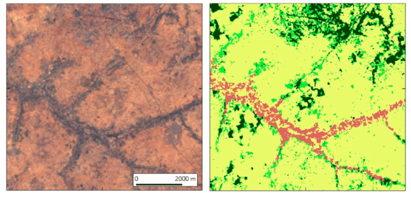 Example of Google Earth high resolution imagery (left side) and the corresponding 30 m resolution Landsat 8-based LCLU map for northern Nigeria (right side). Dark green: stable natural vegetation; Light green: non-stable natural vegetation; Light yellow: rain-fed agriculture; Red: Irrigation agriculture. Figure: Sedano, Molini, & Azad, 2019