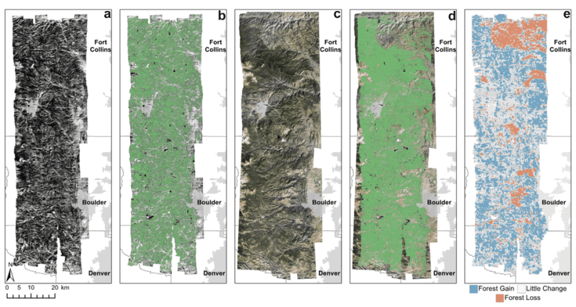Image classification and change detection results from a study area in northern Front Range of Colorado. Forest cover versus non-forest cover was classified from both 1938 and 2015 aerial imagery. The resulting change detection map (e) shows gains (blue) and losses (orange) of forest cover between the two years. Figure: Rodman et al., 2019