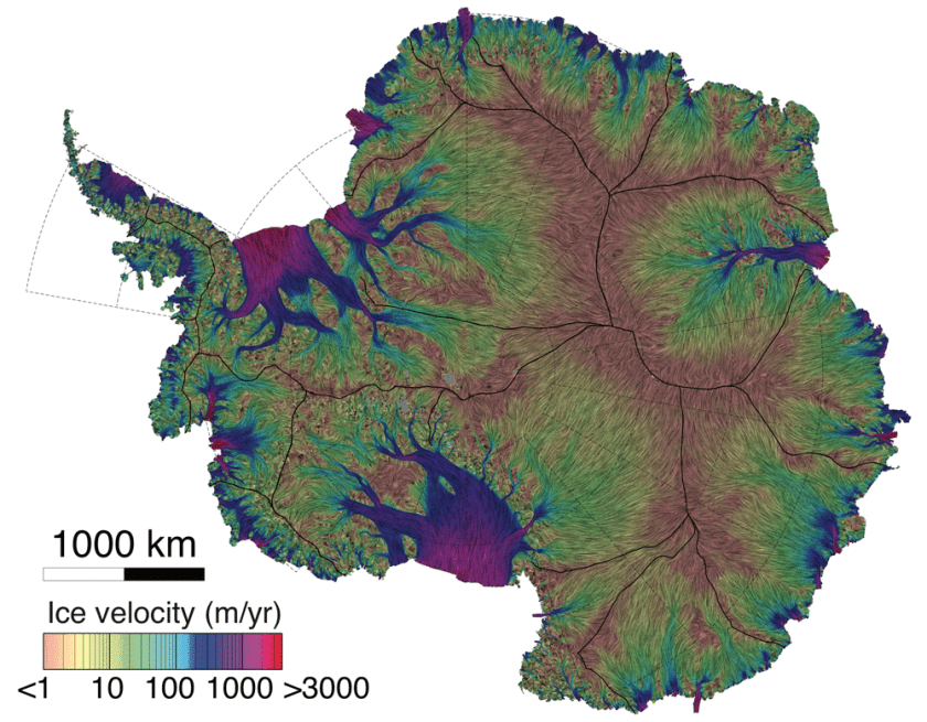 Covering more than 70 percent of Antarctica, the new map shows ice movement as small as 20 centimeters per year in speed and 5 degrees in annual flow direction. Map: Mouginot, Rignot & Scheuchl, 2019.