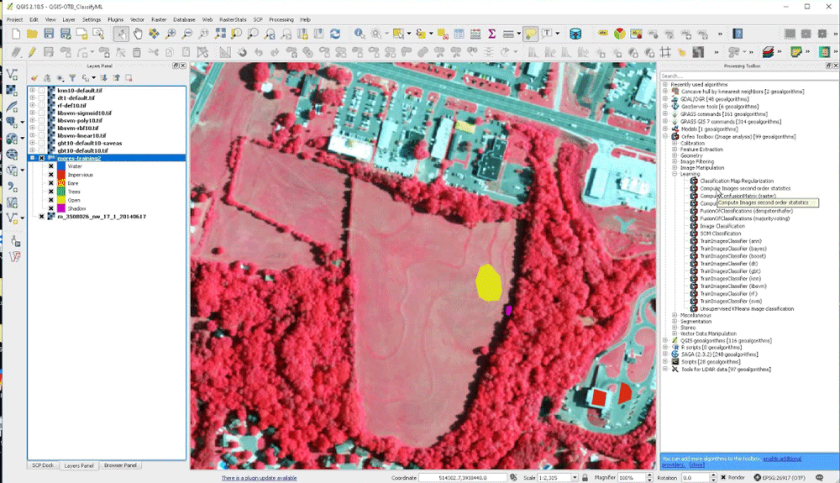 Using the Orfeo toolbox within QGIS for deep learning.  Image: GeoFranker