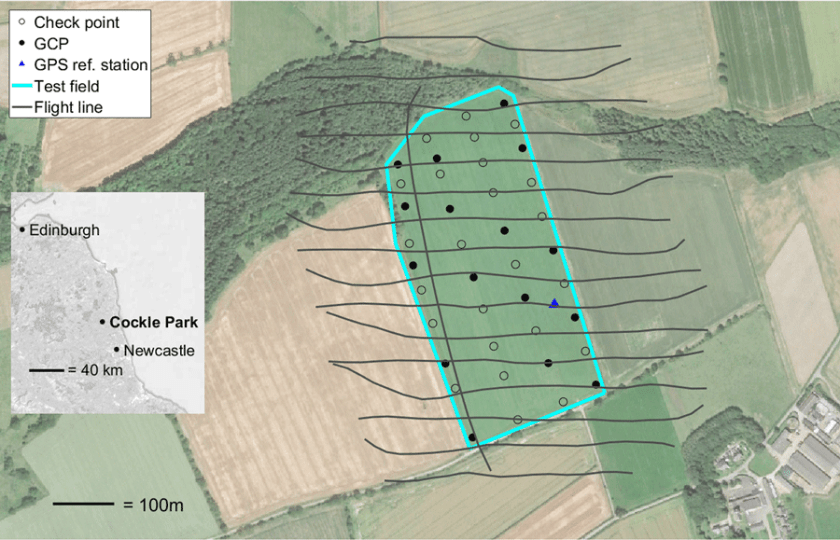 Test field at Cockle Park, Northumberland, north‐east England. Flight lines (for Flight 1 only), location of GCPs, check points and the GPS reference station are shown. Source: Grayson et al., 2018.