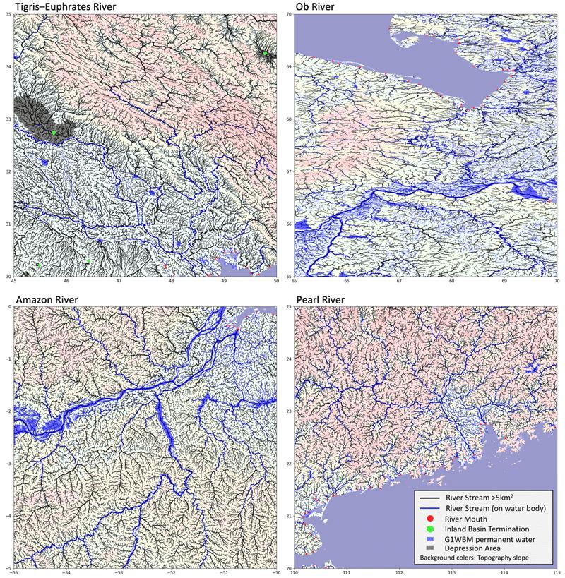 MERIT hydro data mapped for different regions of the world. Maps: Dai Yamazaki