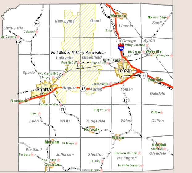 Figure 2. Fort McCoy military installation located in Monroe County, WI. The installation, which occupies a land area of approximately 60,000 acres, is divided by State Highway 21.