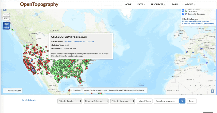 Screenshot of the OpenTopography map interface.