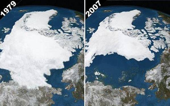 Arctic ice in September 1979 and 2007. By comparing the images we see the greatest reduction of glaciation since we started with satellite imagery. Photo NPA Ltd.