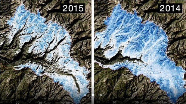 Spatial distribution of the total volume of water in the snowpack across the Tuolumne River Basin on March 25, 2015 (left) and April 7, 2014 (right) as measured by NASA's Airborne Snow Observatory. Credit: NASA/JPL-Caltech