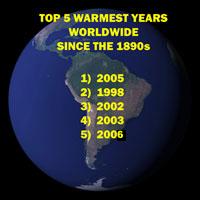 Gráfico que enumera los cinco años más calientes superiores registrados