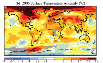 Anomal�as de la temperatura superficial en 2006.