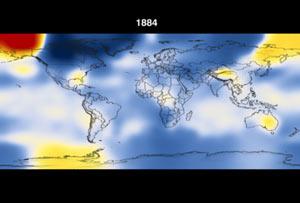 Todav�a de la animación que demuestra temperaturas a partir de 1891 a 2006 en diez incrementos del año.