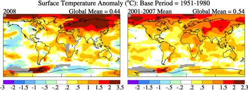 Comparison of 2008 temperature anomalies with the mean 2001 to 2007 anomalies.