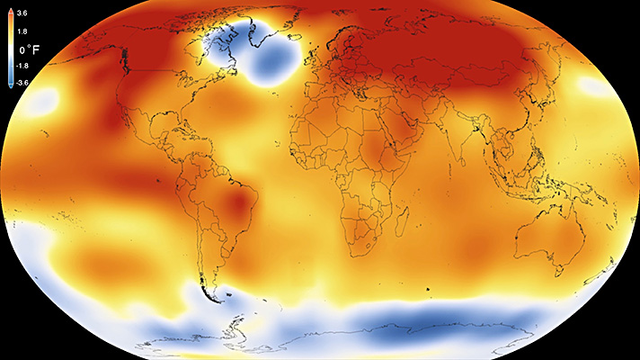 2015 was the warmest year since modern record-keeping began in 1880, according to a new analysis by NASA's Goddard Institute for Space Studies. The record-breaking year continues a long-term warming trend — 15 of the 16 warmest years on record have now occurred since 2001. (Credit: NSA/GSFC/Scientific Visualization Studio)