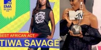 Mavin First Lady, Tiwa Savage Wins Best African Act at MTV EMA