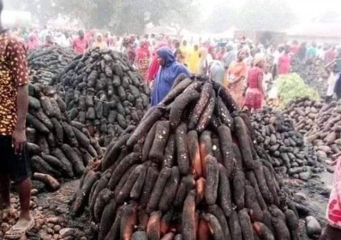 Fire Razes Down Namu Yam Market In Plateau