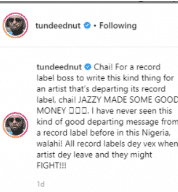 Tunde Ednut Reacted To Don Jazzy's  Comment After Tiwa's Exit From Label 3