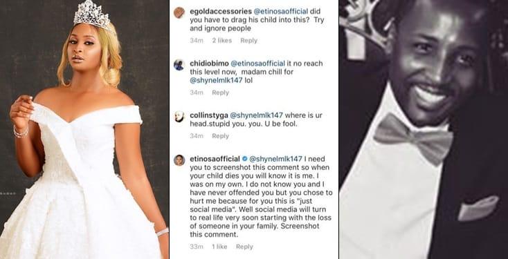 Etinosa lay curse on troll who mocked her on IG