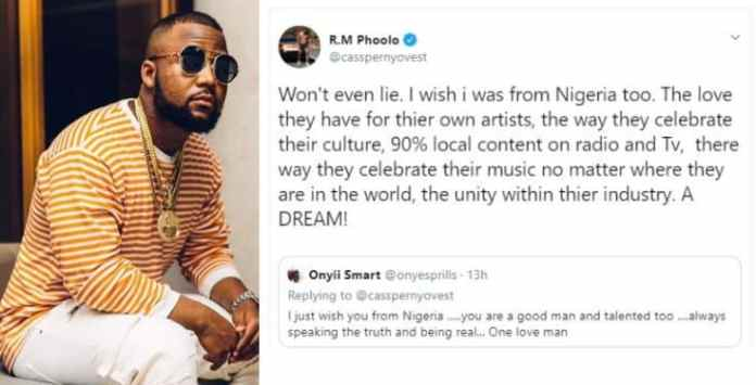 Image result for I wish I was from Nigeria - South African rapper Cassper Nyovest.