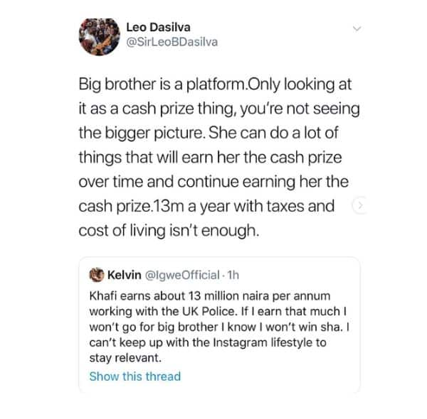 BBNaija: Leo Dasilva reacts to MET police alleged plans to sack Khafi