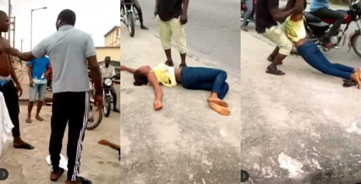 """Lady faints repeatedly on streets of Lagos saying """"Marry me or I die"""""""