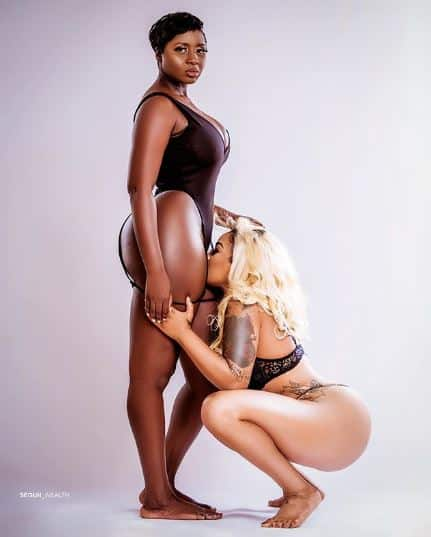 Toyin Lawani sniffs Princess Shyngle in new raunchy photos