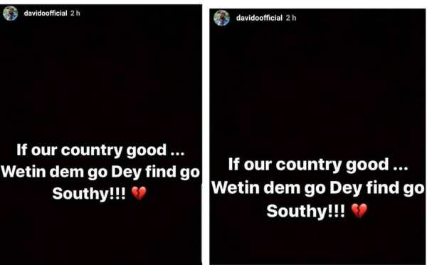 Davido reacts to Xenophobic attacks on Nigerians in South Africa