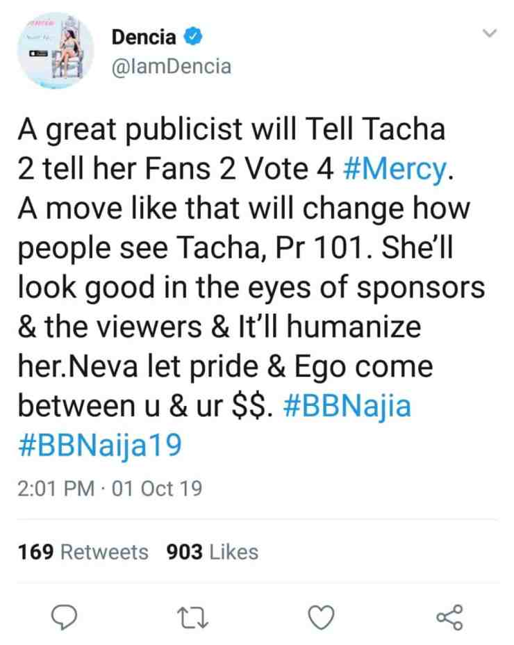 'Tacha need to tell her fans to vote for Mercy' – Dencia
