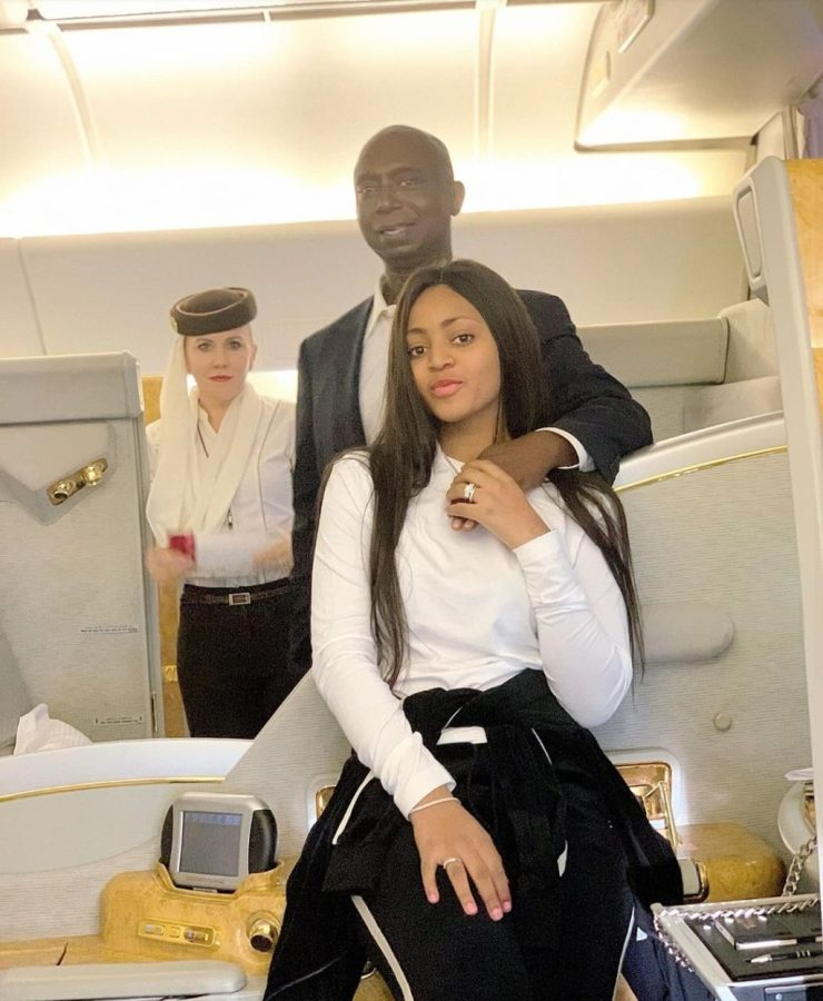 Regina Daniels shares loved up photo with hubby in a plane