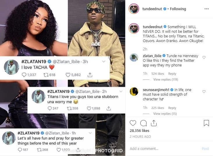 'It will never be better for Titans' - Tunde Ednut curses Tacha's fans -1