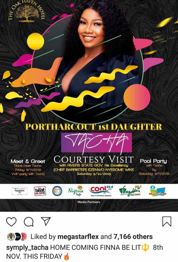 Tacha returns to Instagram, speaks on homecoming party in Port Harcourt