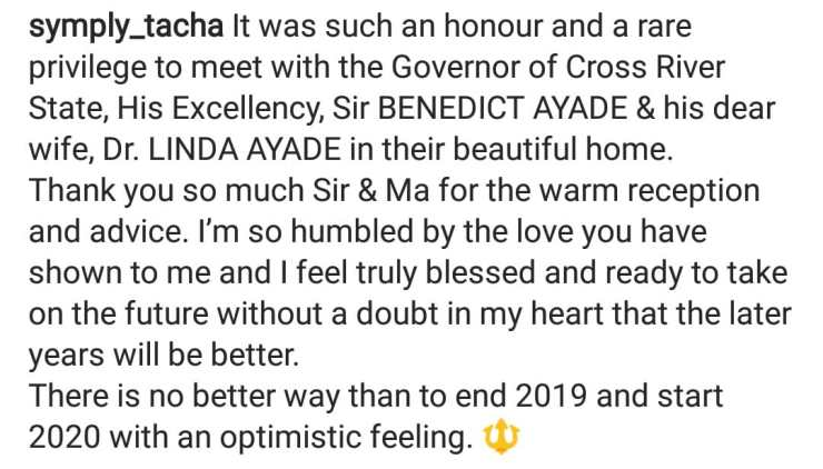 Tacha pens appreciation message to Governor of Cross River state, Sir Benedict Ayade and his wife, Linda Ayade.