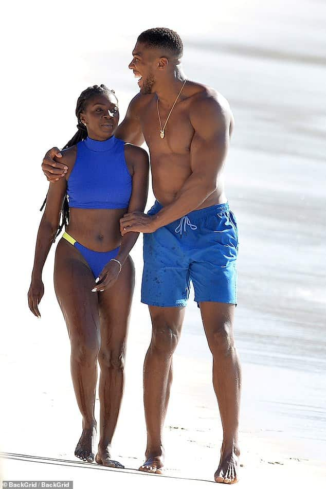 Anthony Joshua caught with a female companion at Barbados beach (Photos)
