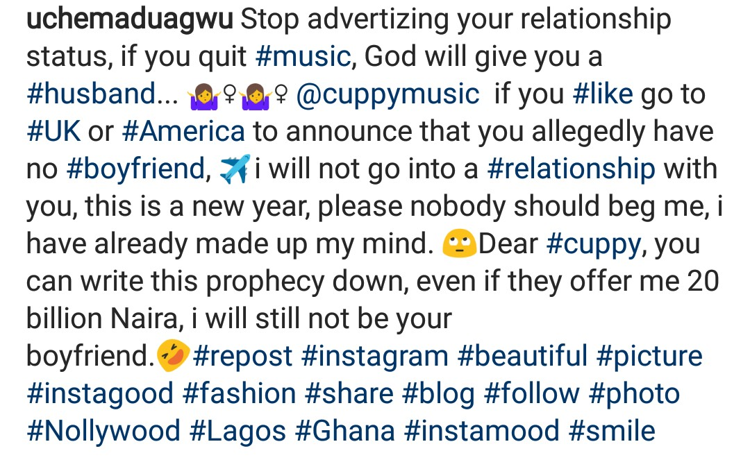 """ENTERTAINMENT NEWS: """"If you quit music, God will give you a husband""""- Uche Maduagwu Replies DJ Cuppy 4"""