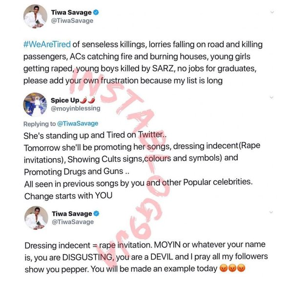 Tiwa Savage replies accuser who said she is promoting rape, illicit drugs, cultism and violence