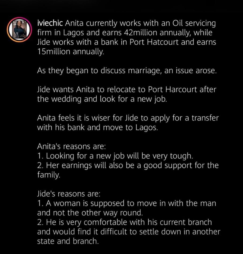 Boyfriend who earns ₦15m asks his ₦42m earning girlfriend to quit her job and relocate