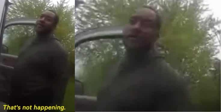 Moment Police officer tells Black man to lick his own urine