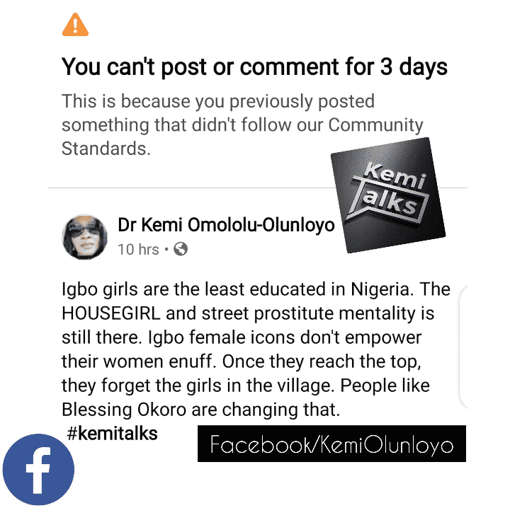 Kemi Olunloyo earns Facebook ban as Igbos drag her for calling their women least educated
