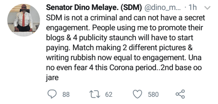 Senator Dino Melaye debunks marriage rumours with actress, Iyabo Ojo