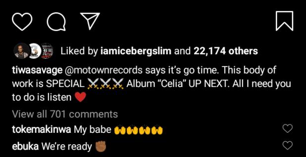 Singer, Tiwa Savage set to drop new album, reveals name (Details)