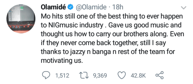 Olamide thanks Mo Hits