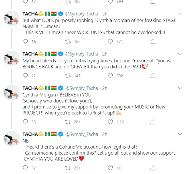 """""""My heart bleeds for you, this is sheer wickedness"""" – Tacha expresses concern over Cynthia Morgan's situation"""