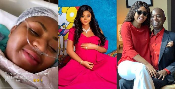 Regina Daniels and Ned Nwoko welcome her first child, a baby boy